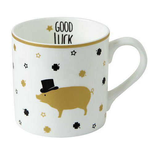 "Bone China Becher ""Mr Pig"" gold, Ideal Home Range IHR"